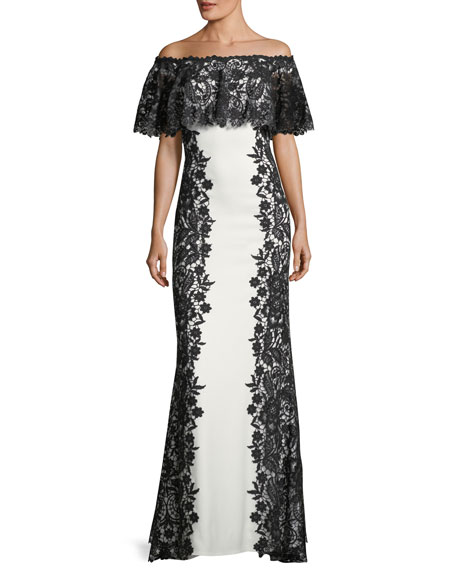 Off-Shoulder Paneled Lace Gown