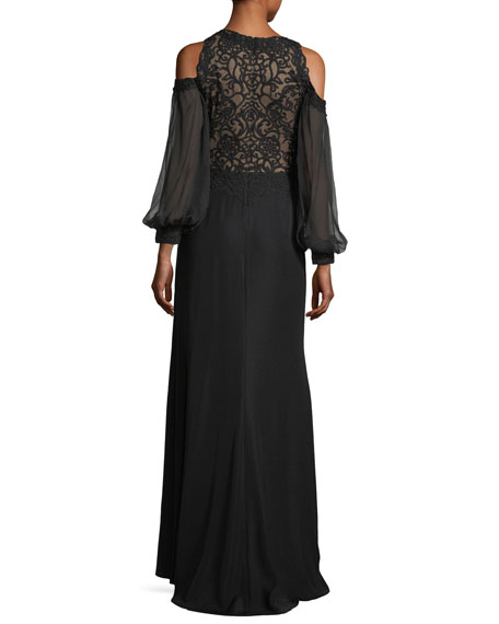 Cold-Shoulder Long-Sleeve Lace Combo Gown