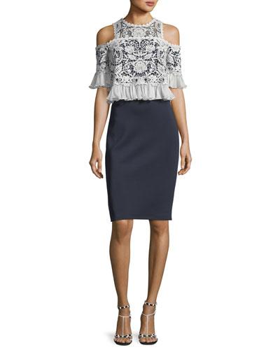 Cold-Shoulder Ruffle-Sleeve Sheath Dress