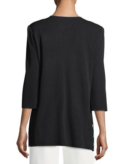 Contrast-Sleeve Open Jacket, Plus Size