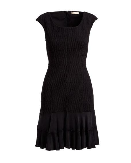 Terri Round-Neck Sheath Dress with Flounce Hem