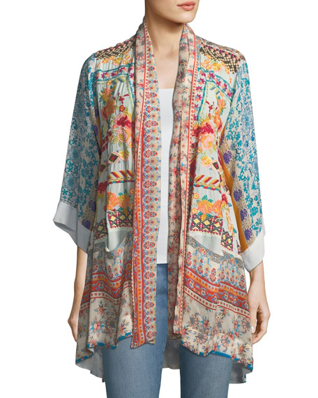 Johnny Was Betimo Embroidered Printed Kimono