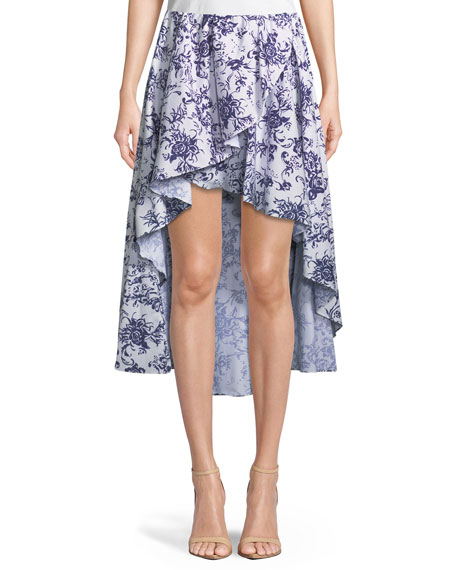 Adelle Floral-Print Cotton Tulip High-Low Skirt