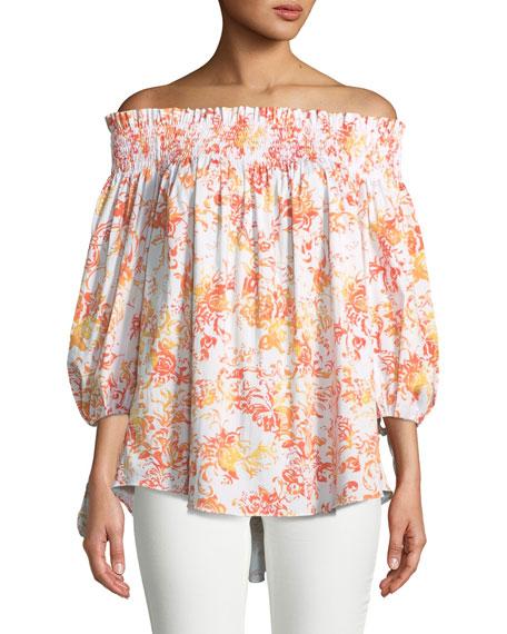 Caroline Constas Lou Off-the-Shoulder Floral-Print Cotton Top
