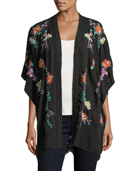 Johnny Was Classic Calla Embroidered Georgette Kimono, Petite