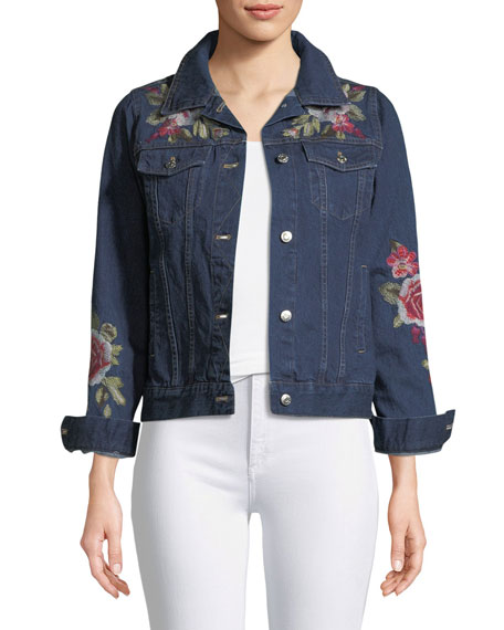 Desi Floral-Embroidered Denim Jacket, Plus Size