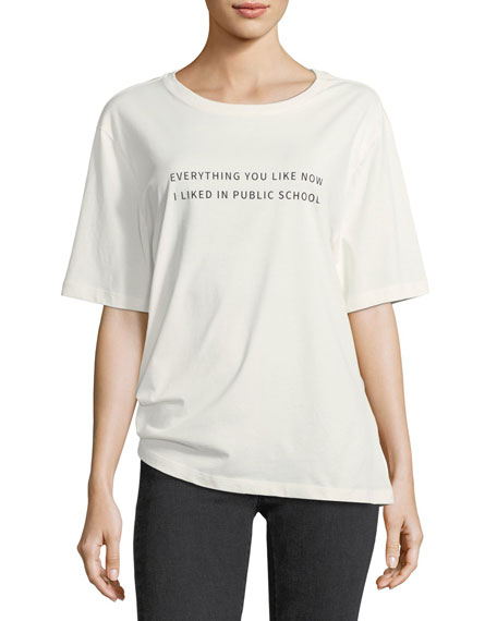 Public School Everything I Like Crewneck Cotton T-Shirt