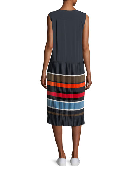 Jama Sleeveless Striped Pleated Midi Dress
