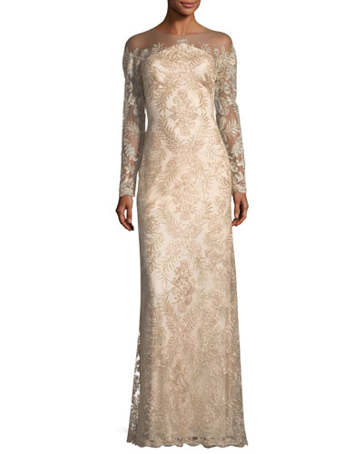 Embellished Lace Illusion Long-Sleeve Gown