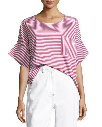 Amos Round-Neck Striped Cotton Top