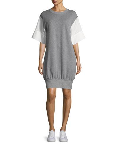 Elaina Crewneck Poplin-Sleeve Sweatshirt Dress