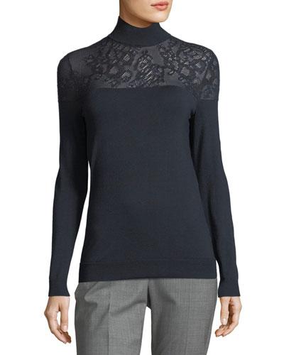 Lace-Yoke Silk Turtleneck Sweater