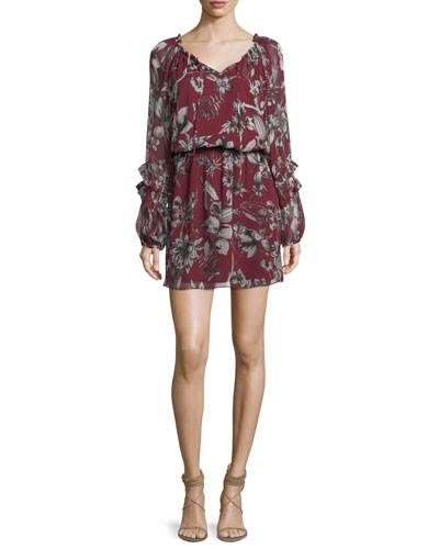Brita V-Neck Long-Sleeve Floral-Print Silk Short Dress