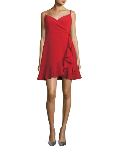 Centinela Wrap-Front Sleeveless Mini Cocktail Dress