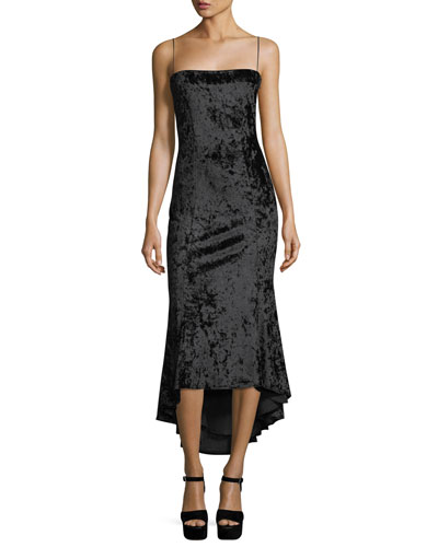 Winslow Square-Neck Sleeveless Crushed Velvet Cocktail Dress