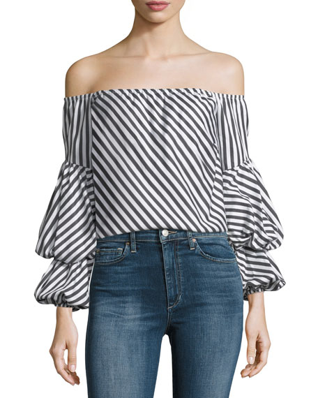 Petersyn Lilly Off-the-Shoulder Striped Cotton Top