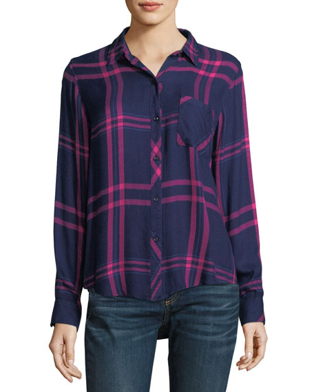 Hunter Button-Down Long-Sleeve Plaid Top