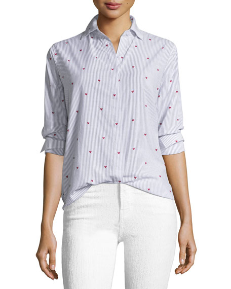 Rails Taylor Striped Button-Down with Heart Embroidery
