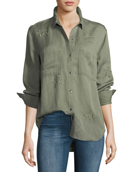 Rails Marcel Snap-Front Long-Sleeve Shirt Jacket with Star