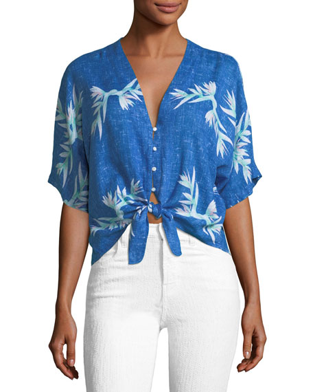 Rails Thea Birds of Paradise Tie-Front Cropped Blouse