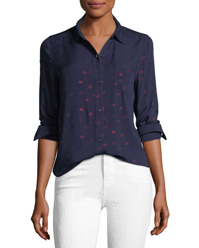 Rocsi Button-Down Shirt with Kiss Me Metallic Print