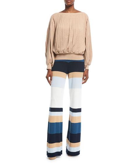 Mahal Striped Wide-Leg Linen Pants