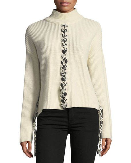 Tabula Rasa Mughal Lace-Front Wool Knit Sweater