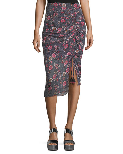 Romy Floral-Print Ruched-Front Skirt