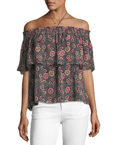 Ghiradelle Off-the-Shoulder Floral-Print Top