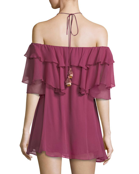 Dena Off-the-Shoulder Ruffled Chiffon Mini Dress