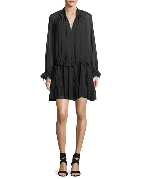 Rebecca Minkoff Dylan Split-Neck Long-Sleeve Short Dress