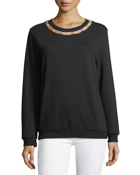 Pearlescent-Neckline Long-Sleeve Sweatshirt
