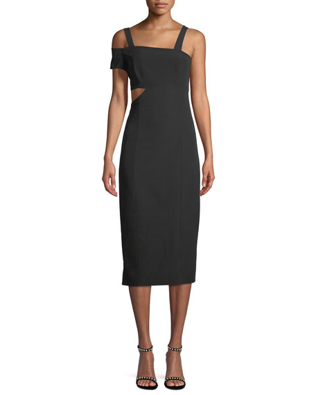 JAY X JAYGODFREY Marquette Cutout Asymmetric Cocktail Dress