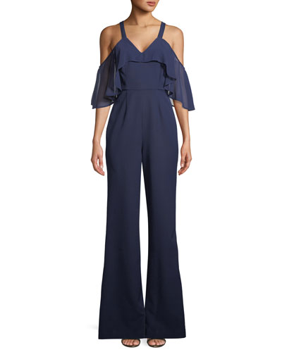 Oliver Cold-Shoulder Ruffle Jumpsuit