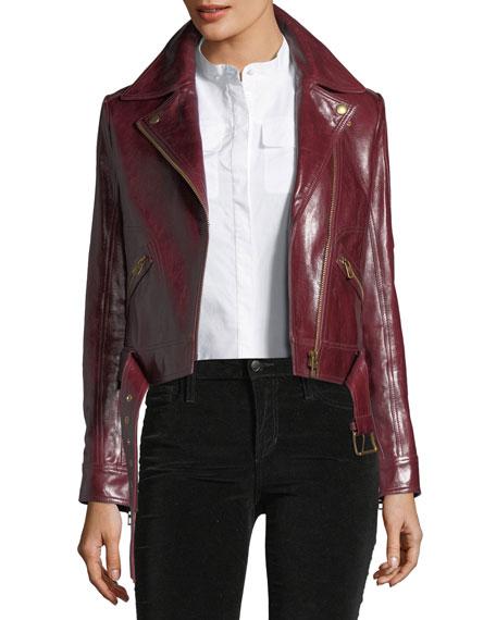Tory Burch Bianca Cordovan Glazed Biker Jacket