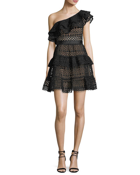 One-Shoulder Tiered Guipure Lace Mini Dress, Black