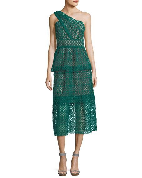 One-Shoulder Floral-Chain Lace Guipure Midi Dress