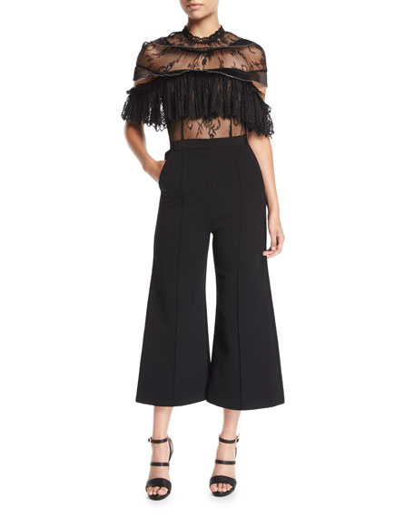 Self-Portrait Fine Lace Wide-Leg Jumpsuit