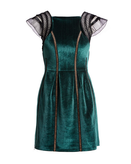 Frill-Shoulder Fit-and-Flare Velvet Mini Dress