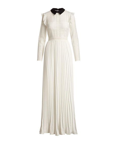 Long-Sleeve Paneled Lace Maxi Dress