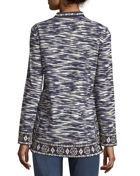 Long-Sleeve Space-Dye Tunic with Embroidered Trim