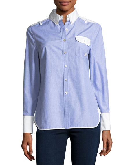 Tory Burch Piper Contrast Long-Sleeve Shirt