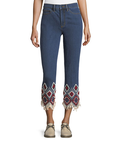 Mia Embroidered-Cuff Cropped Jeans