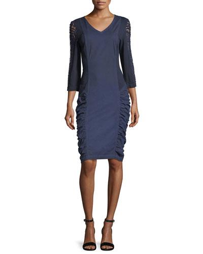 Arya Stretch Poplin Ruched Lace Dress