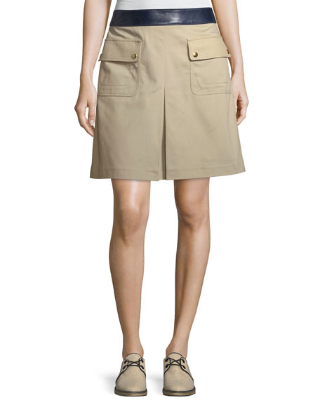 Tory Burch Joss Pocket-Front Canvas Skirt