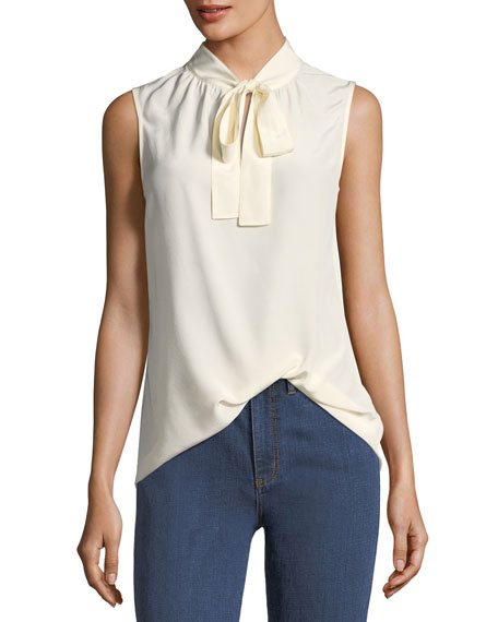 Kylie Sleeveless Bow-Neck Silk Blouse