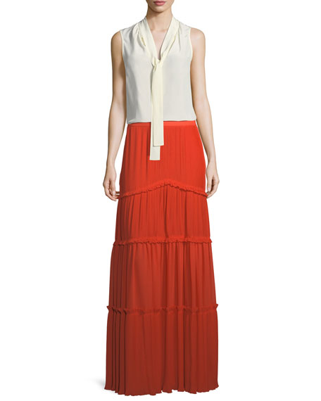 Stella Pleated Long Tiered Skirt