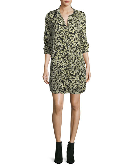 Equipment Freeda Field-Dreams Long-Sleeve Silk Shift Dress