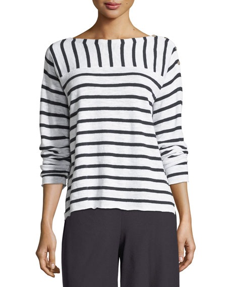 Eileen Fisher Organic Linen/Cotton Striped Top with Shoulder