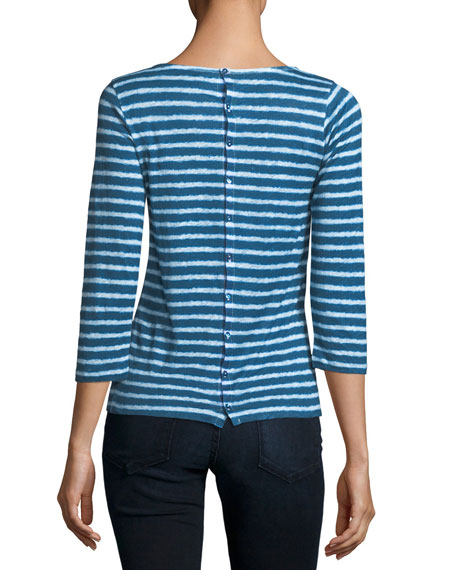 Button-Back Dyed Striped Linen 3/4-Sleeve Top